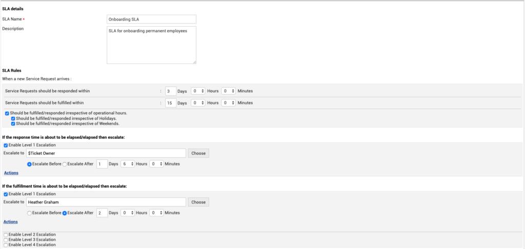 ServiceDesk Plus'ta tipik bir başlangıç hizmeti düzeyi sözleşmesi.