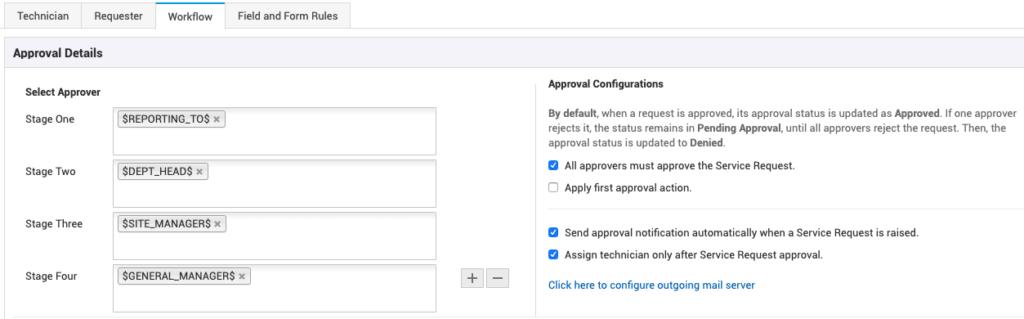 ServiceDesk Plus'ta çok aşamalı onay iş akışı.